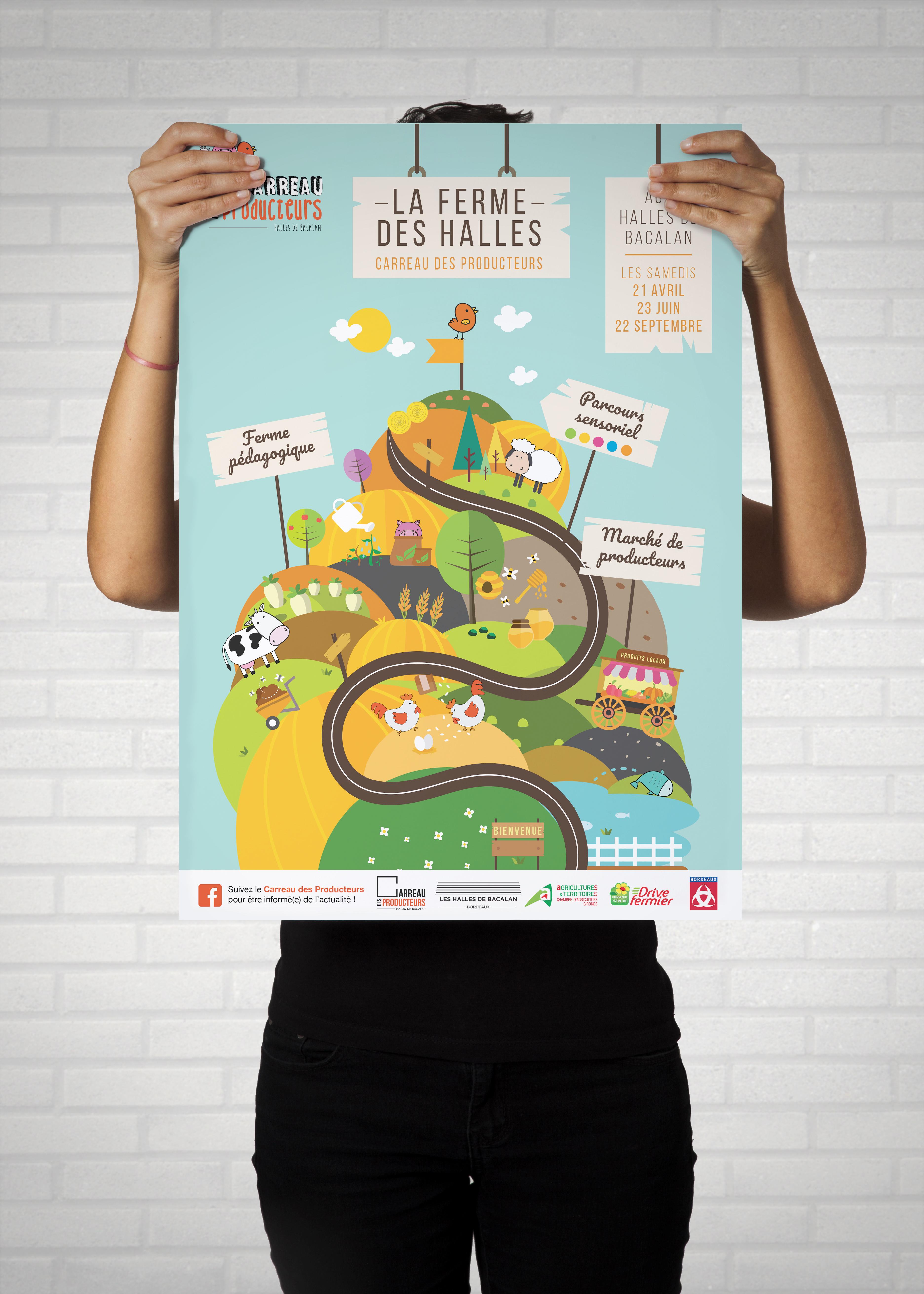 Affiche pour la ferme des halles