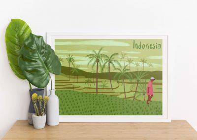 illustration rizières indonésie